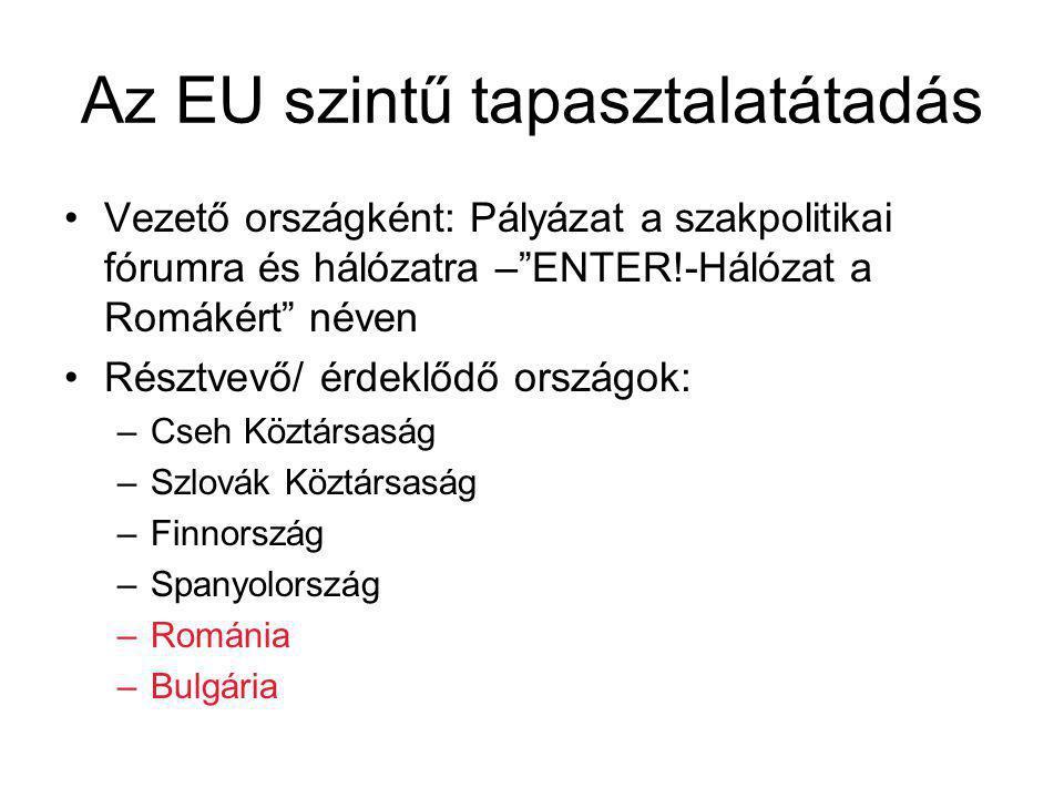 Az EU szintű tapasztalatátadás Vezető országként: Pályázat a szakpolitikai fórumra és hálózatra – ENTER!-Hálózat a Romákért néven Résztvevő/ érdeklődő országok: –Cseh Köztársaság –Szlovák Köztársaság –Finnország –Spanyolország –Románia –Bulgária