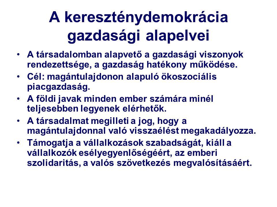 A kereszténydemokrácia gazdasági alapelvei A társadalomban alapvető a gazdasági viszonyok rendezettsége, a gazdaság hatékony működése.