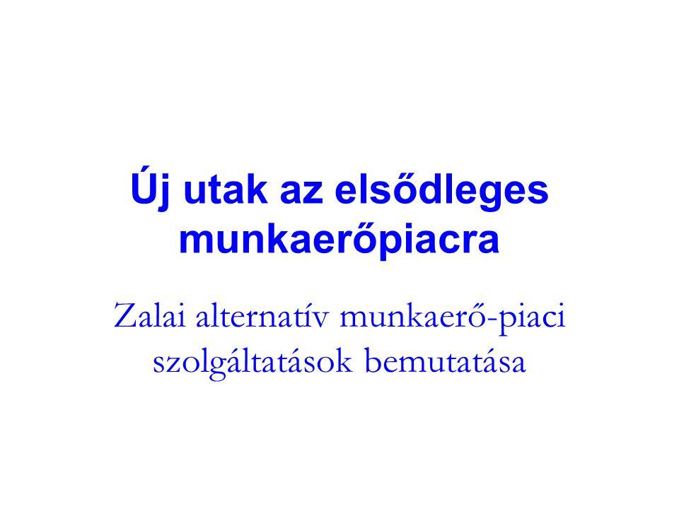 Új utak az elsődleges munkaerőpiacra Zalai alternatív munkaerő-piaci szolgáltatások bemutatása