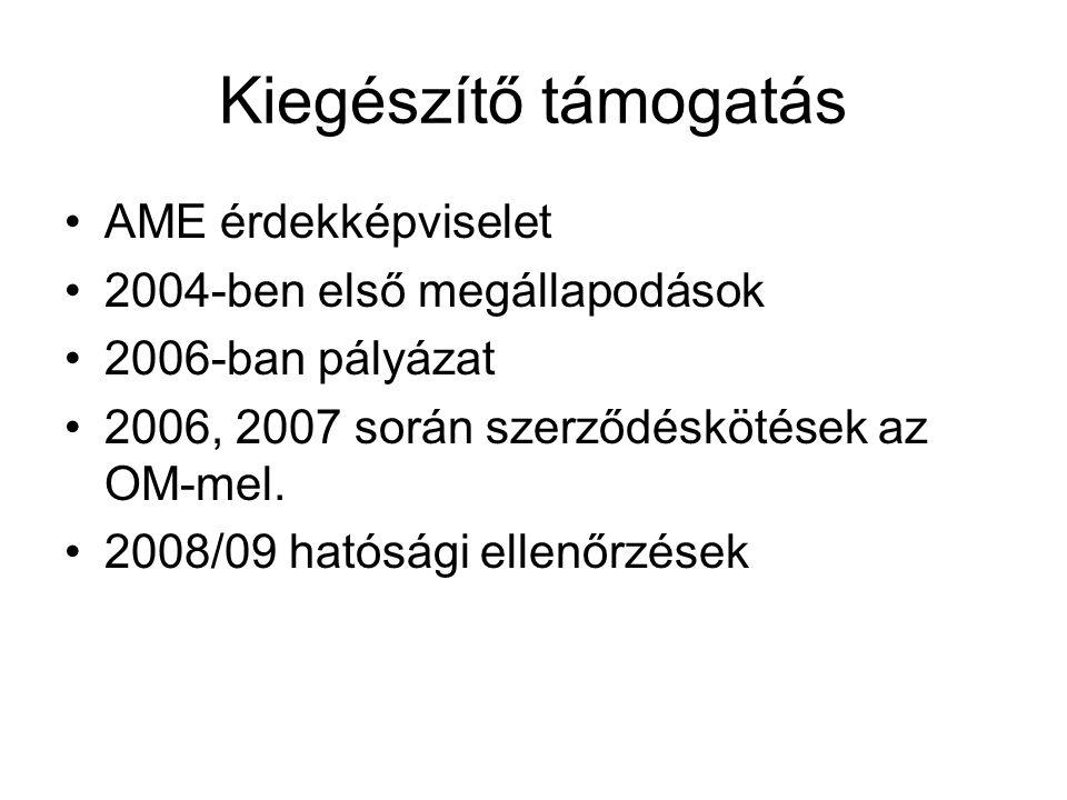 Kiegészítő támogatás AME érdekképviselet 2004-ben első megállapodások 2006-ban pályázat 2006, 2007 során szerződéskötések az OM-mel. 2008/09 hatósági