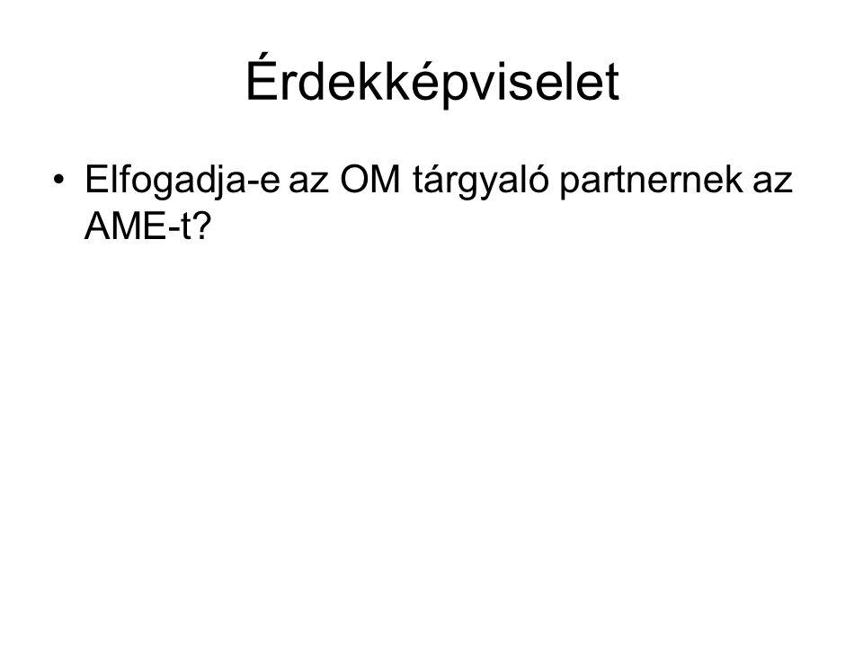 Érdekképviselet Elfogadja-e az OM tárgyaló partnernek az AME-t