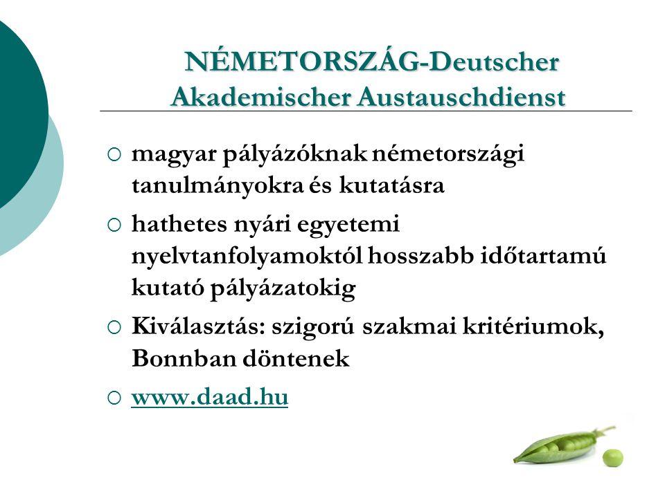 NÉMETORSZÁG-Deutscher Akademischer Austauschdienst NÉMETORSZÁG-Deutscher Akademischer Austauschdienst  magyar pályázóknak németországi tanulmányokra és kutatásra  hathetes nyári egyetemi nyelvtanfolyamoktól hosszabb időtartamú kutató pályázatokig  Kiválasztás: szigorú szakmai kritériumok, Bonnban döntenek  www.daad.hu www.daad.hu