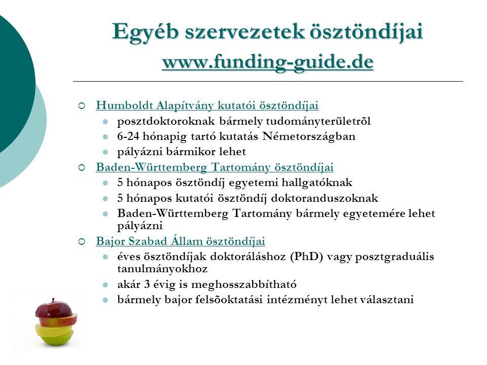 Egyéb szervezetek ösztöndíjai www.funding-guide.de www.funding-guide.de www.funding-guide.de  Humboldt Alapítvány kutatói ösztöndíjai Humboldt Alapítvány kutatói ösztöndíjai posztdoktoroknak bármely tudományterületrõl 6-24 hónapig tartó kutatás Németországban pályázni bármikor lehet  Baden-Württemberg Tartomány ösztöndíjai Baden-Württemberg Tartomány ösztöndíjai 5 hónapos ösztöndíj egyetemi hallgatóknak 5 hónapos kutatói ösztöndíj doktoranduszoknak Baden-Württemberg Tartomány bármely egyetemére lehet pályázni  Bajor Szabad Állam ösztöndíjai Bajor Szabad Állam ösztöndíjai éves ösztöndíjak doktoráláshoz (PhD) vagy posztgraduális tanulmányokhoz akár 3 évig is meghosszabbítható bármely bajor felsõoktatási intézményt lehet választani