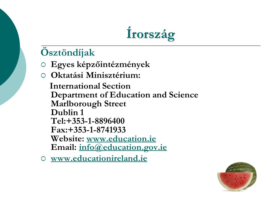 Írország Ösztöndíjak  Egyes képzőintézmények  Oktatási Minisztérium: International Section Department of Education and Science Marlborough Street Dublin 1 Tel:+353-1-8896400 Fax:+353-1-8741933 Website: www.education.ie Email: info@education.gov.iewww.education.ieinfo@education.gov.ie  www.educationireland.ie www.educationireland.ie
