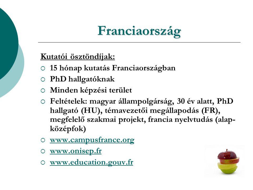 Franciaország Kutatói ösztöndíjak:  15 hónap kutatás Franciaországban  PhD hallgatóknak  Minden képzési terület  Feltételek: magyar állampolgárság, 30 év alatt, PhD hallgató (HU), témavezetői megállapodás (FR), megfelelő szakmai projekt, francia nyelvtudás (alap- középfok)  www.campusfrance.org www.campusfrance.org  www.onisep.fr www.onisep.fr  www.education.gouv.fr www.education.gouv.fr