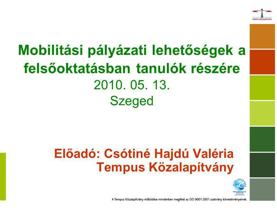 Mobilitási pályázati lehetőségek a felsőoktatásban tanulók részére 2010. 05. 13. Szeged Előadó: Csótiné Hajdú Valéria Tempus Közalapítvány