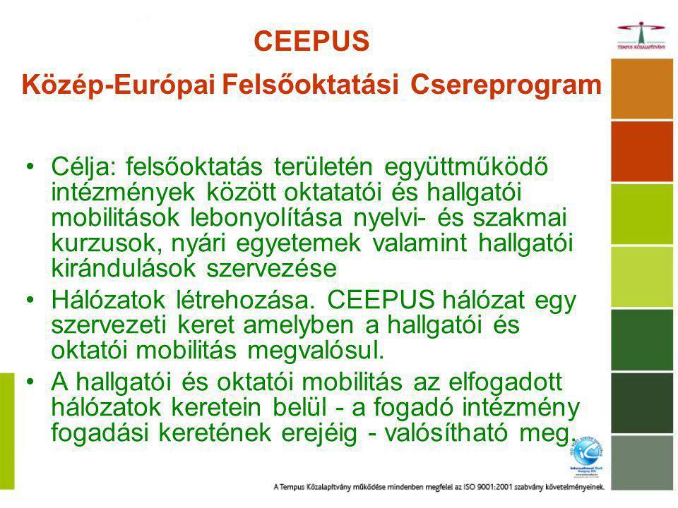CEEPUS Közép-Európai Felsőoktatási Csereprogram Célja: felsőoktatás területén együttműködő intézmények között oktatatói és hallgatói mobilitások lebonyolítása nyelvi- és szakmai kurzusok, nyári egyetemek valamint hallgatói kirándulások szervezése Hálózatok létrehozása.