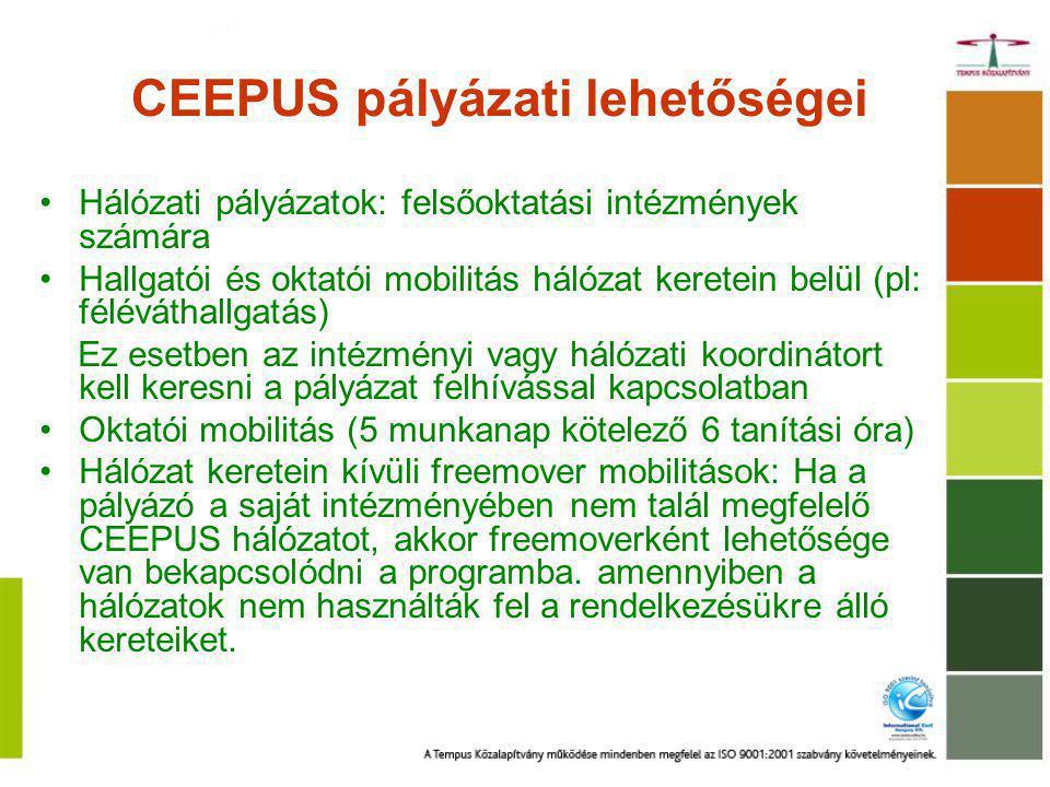 CEEPUS pályázati lehetőségei Hálózati pályázatok: felsőoktatási intézmények számára Hallgatói és oktatói mobilitás hálózat keretein belül (pl: féléváthallgatás) Ez esetben az intézményi vagy hálózati koordinátort kell keresni a pályázat felhívással kapcsolatban Oktatói mobilitás (5 munkanap kötelező 6 tanítási óra) Hálózat keretein kívüli freemover mobilitások: Ha a pályázó a saját intézményében nem talál megfelelő CEEPUS hálózatot, akkor freemoverként lehetősége van bekapcsolódni a programba.