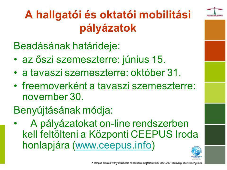A hallgatói és oktatói mobilitási pályázatok Beadásának határideje: az őszi szemeszterre: június 15. a tavaszi szemeszterre: október 31. freemoverként