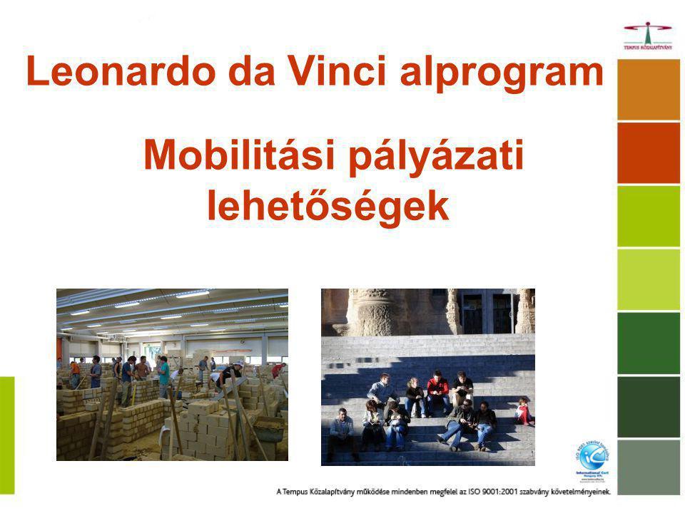 Leonardo da Vinci alprogram Mobilitási pályázati lehetőségek