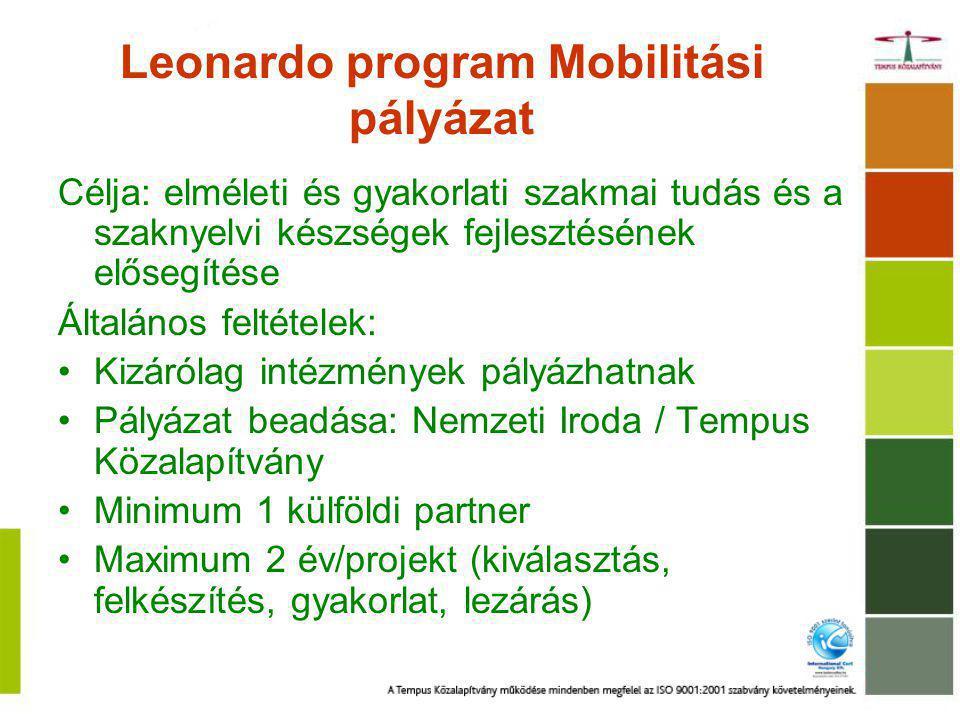 Leonardo program Mobilitási pályázat Célja: elméleti és gyakorlati szakmai tudás és a szaknyelvi készségek fejlesztésének elősegítése Általános feltételek: Kizárólag intézmények pályázhatnak Pályázat beadása: Nemzeti Iroda / Tempus Közalapítvány Minimum 1 külföldi partner Maximum 2 év/projekt (kiválasztás, felkészítés, gyakorlat, lezárás)