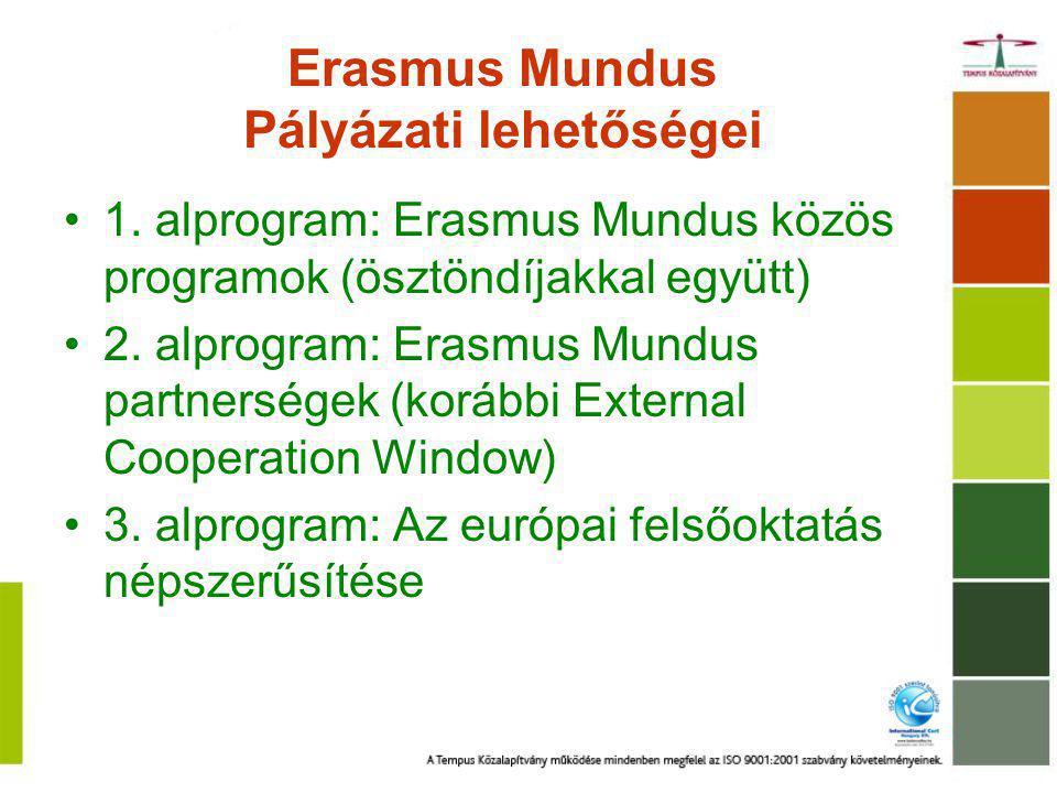 Erasmus Mundus Pályázati lehetőségei 1. alprogram: Erasmus Mundus közös programok (ösztöndíjakkal együtt) 2. alprogram: Erasmus Mundus partnerségek (k