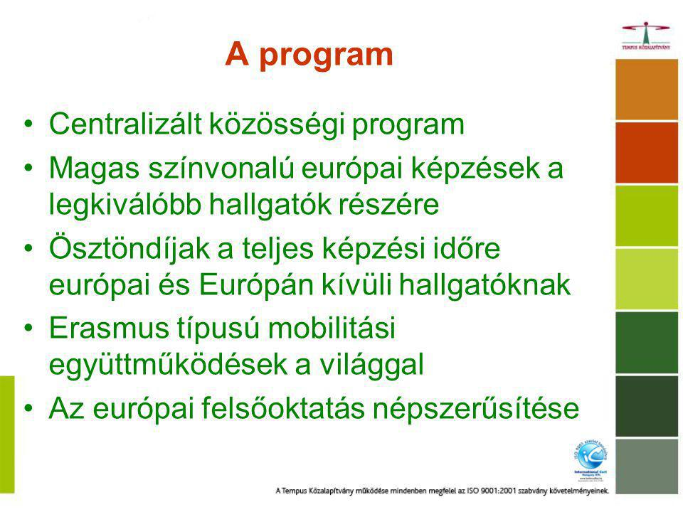 A program Centralizált közösségi program Magas színvonalú európai képzések a legkiválóbb hallgatók részére Ösztöndíjak a teljes képzési időre európai és Európán kívüli hallgatóknak Erasmus típusú mobilitási együttműködések a világgal Az európai felsőoktatás népszerűsítése