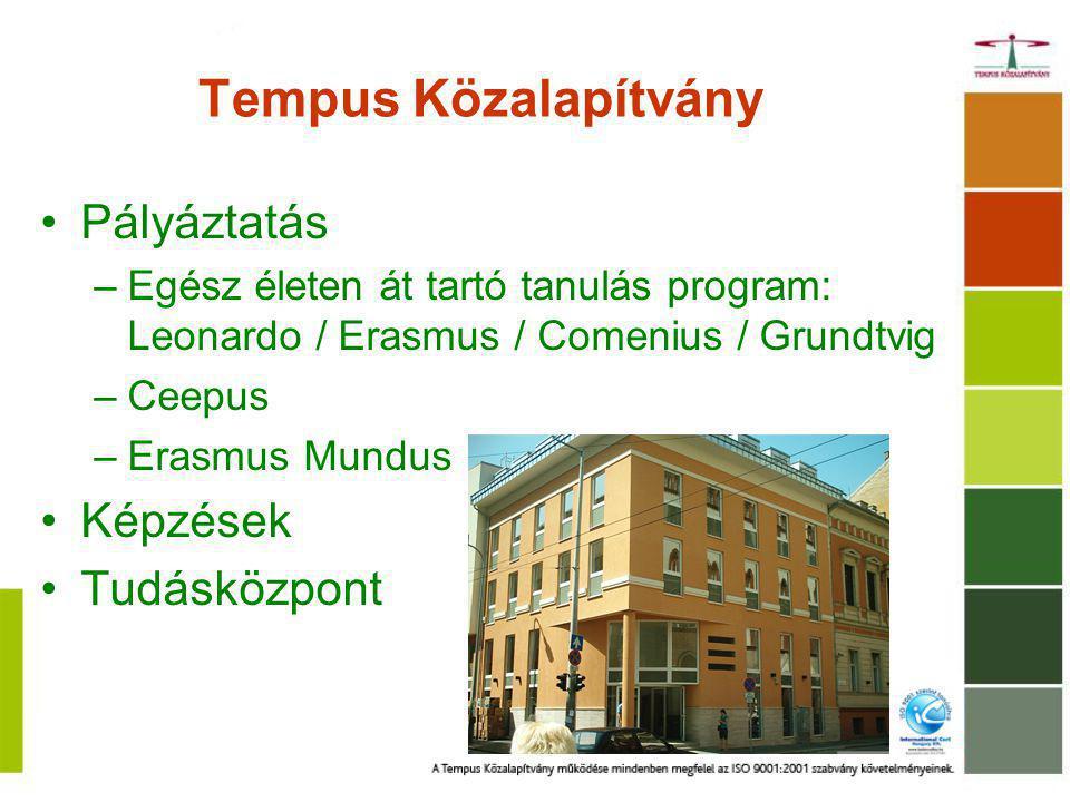 Tempus Közalapítvány Pályáztatás –Egész életen át tartó tanulás program: Leonardo / Erasmus / Comenius / Grundtvig –Ceepus –Erasmus Mundus Képzések Tudásközpont