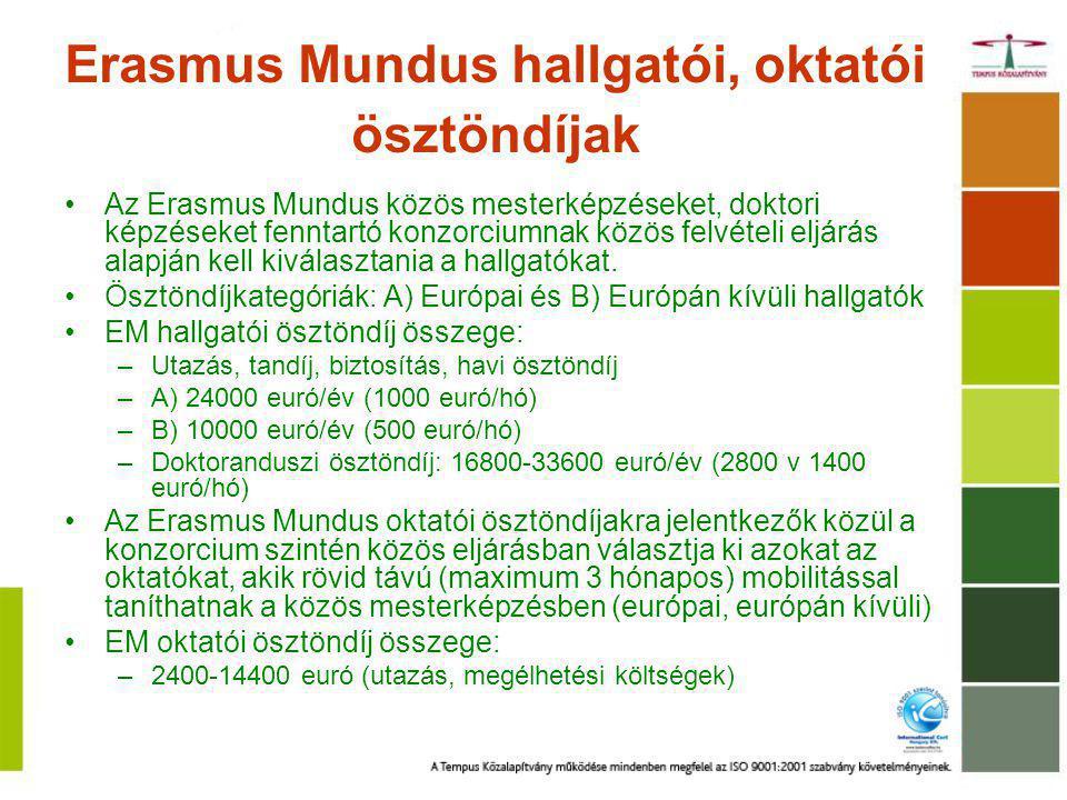 Erasmus Mundus hallgatói, oktatói ösztöndíjak Az Erasmus Mundus közös mesterképzéseket, doktori képzéseket fenntartó konzorciumnak közös felvételi eljárás alapján kell kiválasztania a hallgatókat.