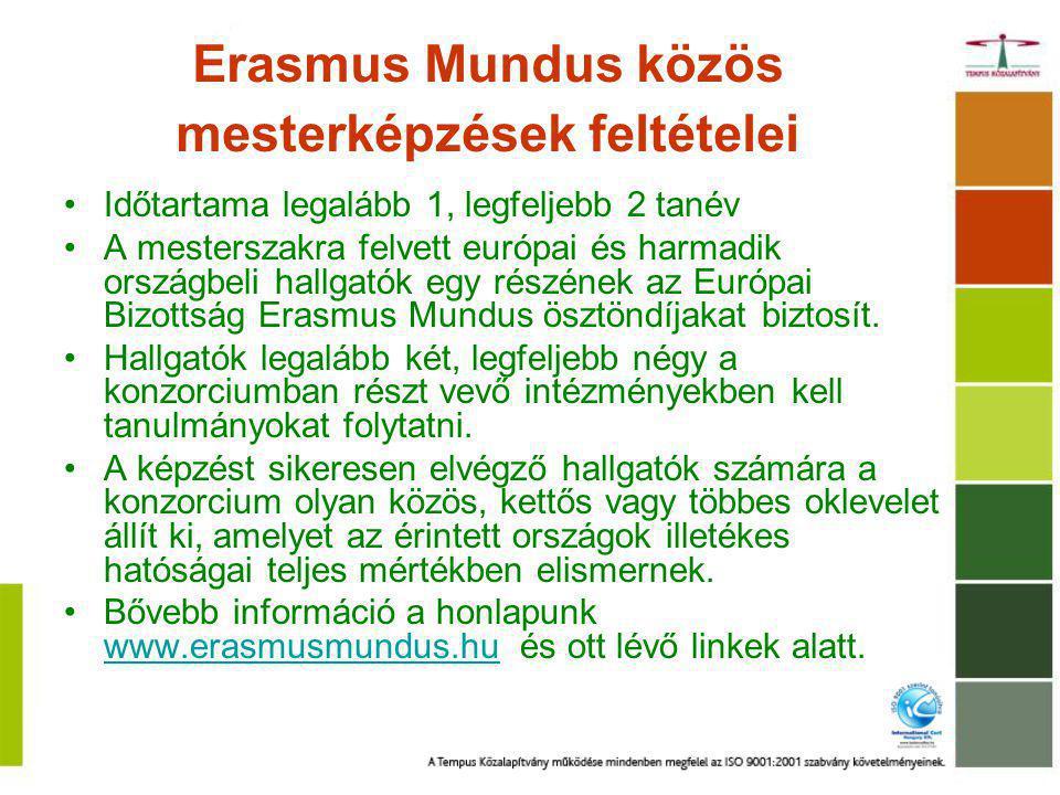 Erasmus Mundus közös mesterképzések feltételei Időtartama legalább 1, legfeljebb 2 tanév A mesterszakra felvett európai és harmadik országbeli hallgatók egy részének az Európai Bizottság Erasmus Mundus ösztöndíjakat biztosít.