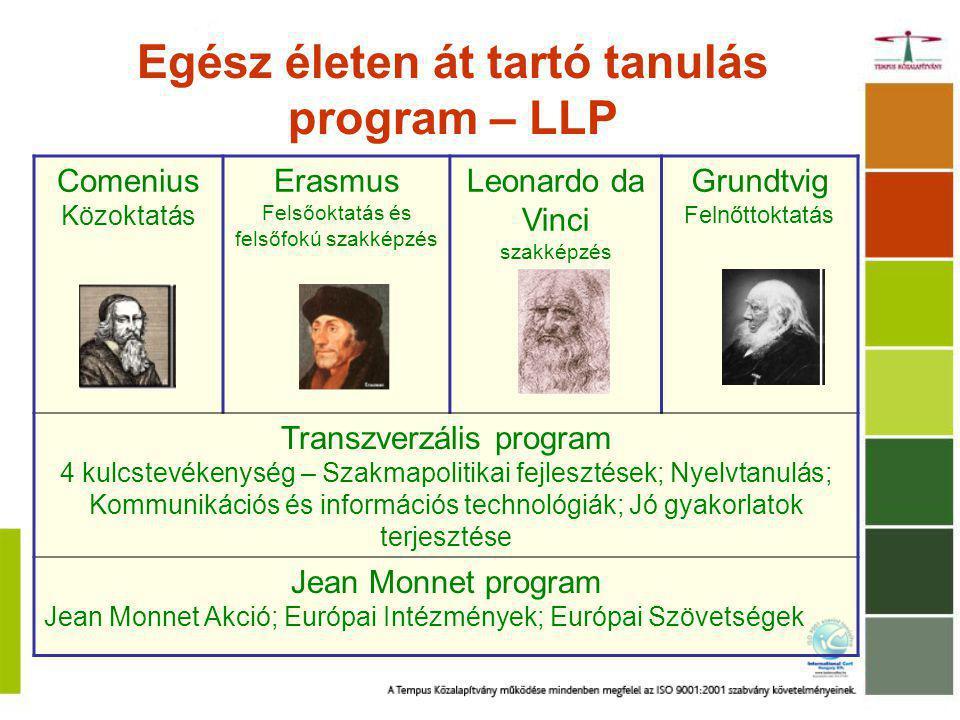 Egész életen át tartó tanulás program – LLP Comenius Közoktatás Erasmus Felsőoktatás és felsőfokú szakképzés Leonardo da Vinci szakképzés Grundtvig Felnőttoktatás Transzverzális program 4 kulcstevékenység – Szakmapolitikai fejlesztések; Nyelvtanulás; Kommunikációs és információs technológiák; Jó gyakorlatok terjesztése Jean Monnet program Jean Monnet Akció; Európai Intézmények; Európai Szövetségek