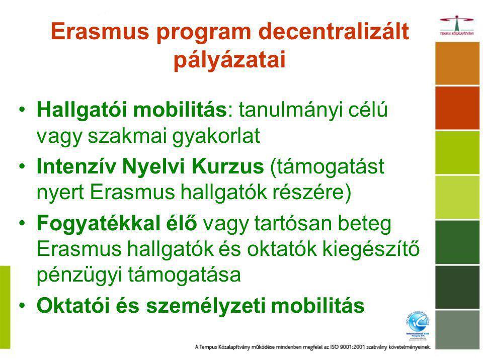 Erasmus program decentralizált pályázatai Hallgatói mobilitás: tanulmányi célú vagy szakmai gyakorlat Intenzív Nyelvi Kurzus (támogatást nyert Erasmus hallgatók részére) Fogyatékkal élő vagy tartósan beteg Erasmus hallgatók és oktatók kiegészítő pénzügyi támogatása Oktatói és személyzeti mobilitás
