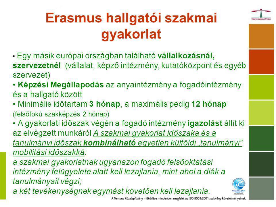 Erasmus hallgatói szakmai gyakorlat Egy másik európai országban található vállalkozásnál, szervezetnél (vállalat, képző intézmény, kutatóközpont és eg