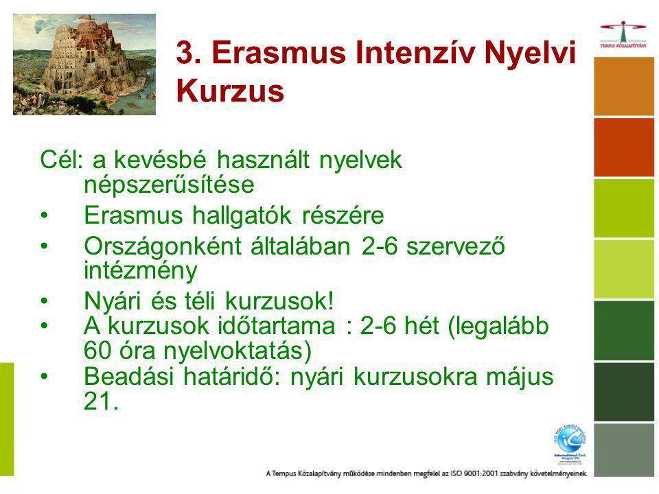 3. Erasmus Intenzív Nyelvi Kurzus Cél: a kevésbé használt nyelvek népszerűsítése Erasmus hallgatók részére Országonként általában 2-6 szervező intézmé