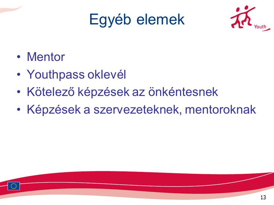 13 Egyéb elemek Mentor Youthpass oklevél Kötelező képzések az önkéntesnek Képzések a szervezeteknek, mentoroknak