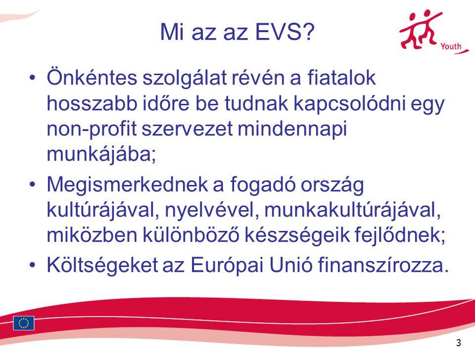 3 Mi az az EVS? Önkéntes szolgálat révén a fiatalok hosszabb időre be tudnak kapcsolódni egy non-profit szervezet mindennapi munkájába; Megismerkednek