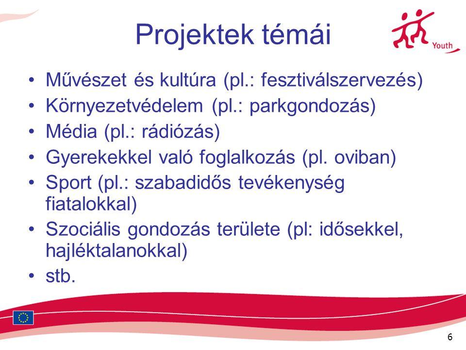 6 Projektek témái Művészet és kultúra (pl.: fesztiválszervezés) Környezetvédelem (pl.: parkgondozás) Média (pl.: rádiózás) Gyerekekkel való foglalkozá