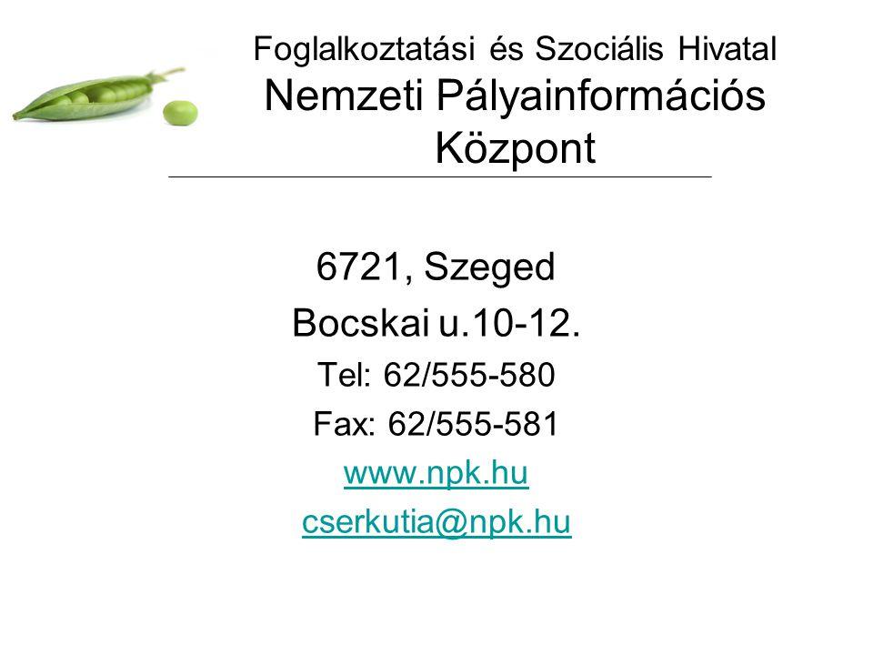 Foglalkoztatási és Szociális Hivatal Nemzeti Pályainformációs Központ 6721, Szeged Bocskai u.10-12. Tel: 62/555-580 Fax: 62/555-581 www.npk.hu cserkut