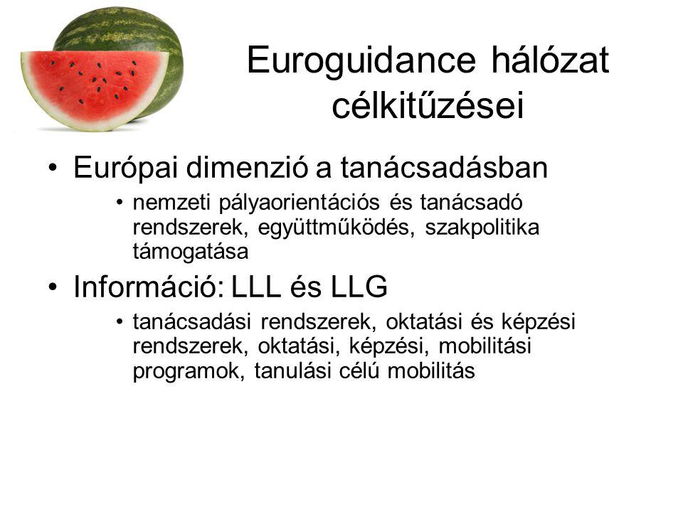 Euroguidance hálózat célkitűzései Európai dimenzió a tanácsadásban nemzeti pályaorientációs és tanácsadó rendszerek, együttműködés, szakpolitika támogatása Információ: LLL és LLG tanácsadási rendszerek, oktatási és képzési rendszerek, oktatási, képzési, mobilitási programok, tanulási célú mobilitás