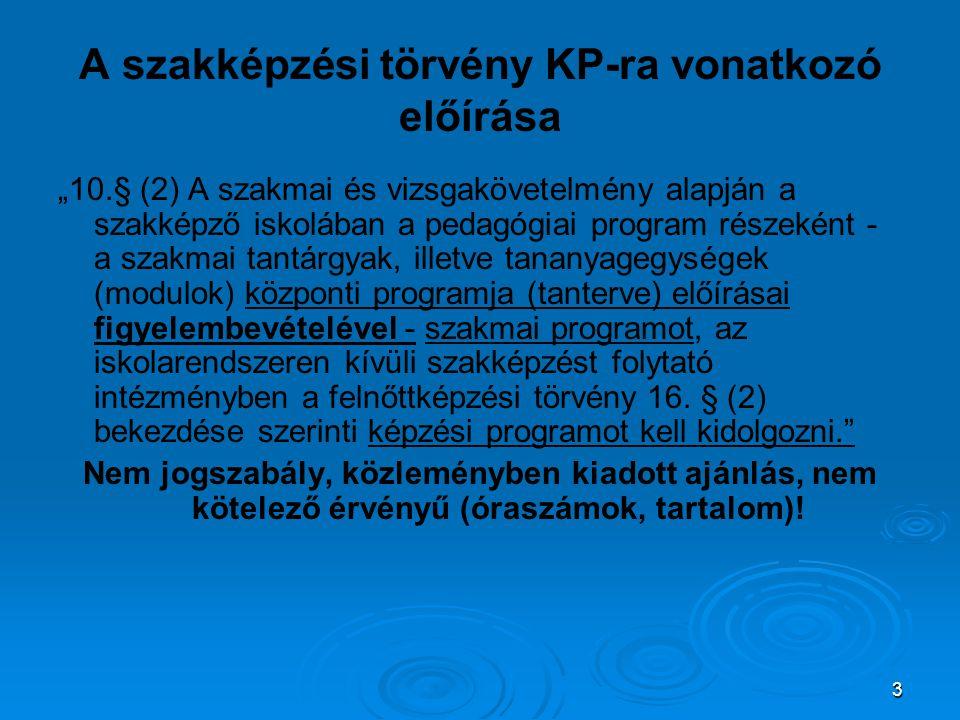 """3 A szakképzési törvény KP-ra vonatkozó előírása """"10.§ (2) A szakmai és vizsgakövetelmény alapján a szakképző iskolában a pedagógiai program részeként - a szakmai tantárgyak, illetve tananyagegységek (modulok) központi programja (tanterve) előírásai figyelembevételével - szakmai programot, az iskolarendszeren kívüli szakképzést folytató intézményben a felnőttképzési törvény 16."""