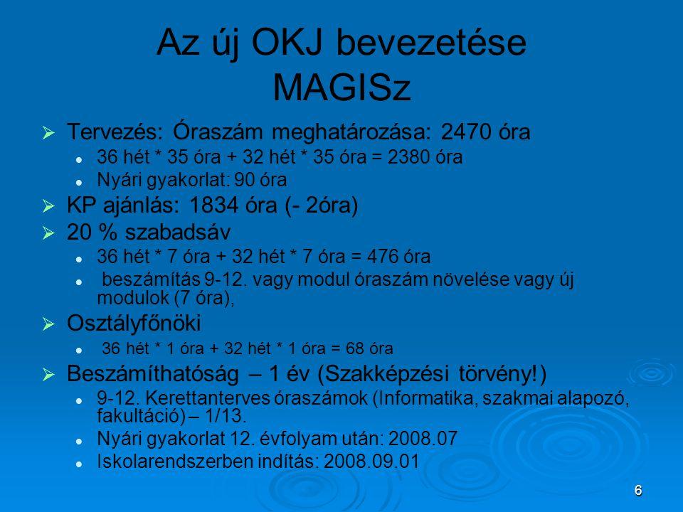 6 Az új OKJ bevezetése MAGISz   Tervezés: Óraszám meghatározása: 2470 óra 36 hét * 35 óra + 32 hét * 35 óra = 2380 óra Nyári gyakorlat: 90 óra   K