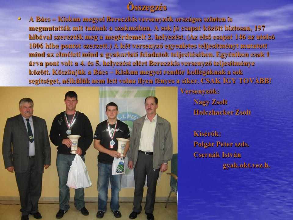 Összegzés A Bács – Kiskun megyei Bereczkis versenyzők országos szinten is megmutatták mit tudnak a szakmában. A sok jó csapat között biztosan, 197 hib