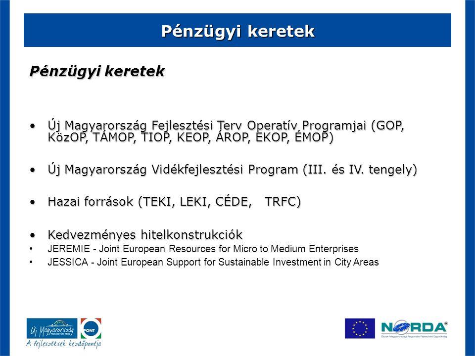 Pénzügyi keretek Új Magyarország Fejlesztési Terv Operatív Programjai (GOP, KözOP, TÁMOP, TIOP, KEOP, ÁROP, EKOP, ÉMOP) Új Magyarország Fejlesztési T