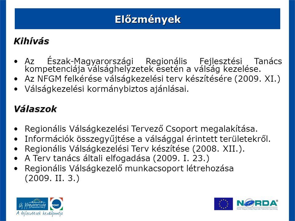 Előzmények Kihívás Az Észak-Magyarországi Regionális Fejlesztési Tanács kompetenciája válsághelyzetek esetén a válság kezelése. Az NFGM felkérése váls