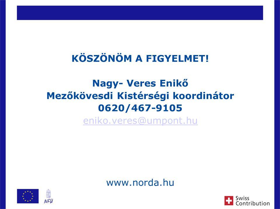 10 KÖSZÖNÖM A FIGYELMET! Nagy- Veres Enikő Mezőkövesdi Kistérségi koordinátor 0620/467-9105 eniko.veres@umpont.hu www.norda.hu