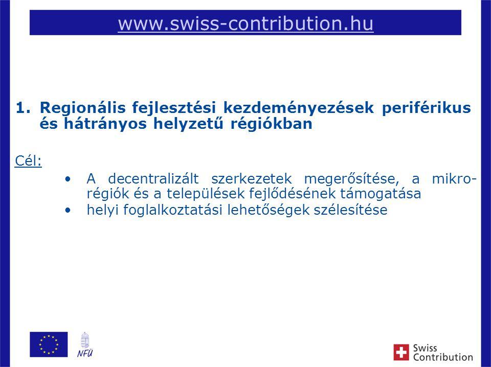 2 www.swiss-contribution.hu 1.Regionális fejlesztési kezdeményezések periférikus és hátrányos helyzetű régiókban Cél: A decentralizált szerkezetek megerősítése, a mikro- régiók és a települések fejlődésének támogatása helyi foglalkoztatási lehetőségek szélesítése