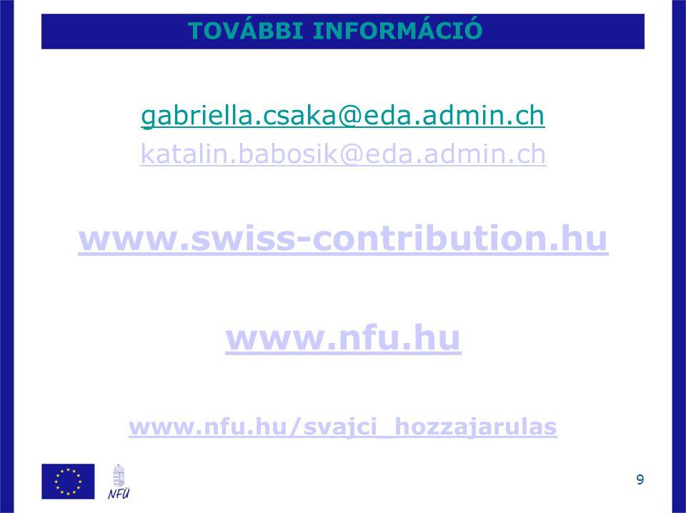 9 TOVÁBBI INFORMÁCIÓ gabriella.csaka@eda.admin.ch katalin.babosik@eda.admin.ch www.swiss-contribution.hu www.nfu.hu www.nfu.hu/svajci_hozzajarulas