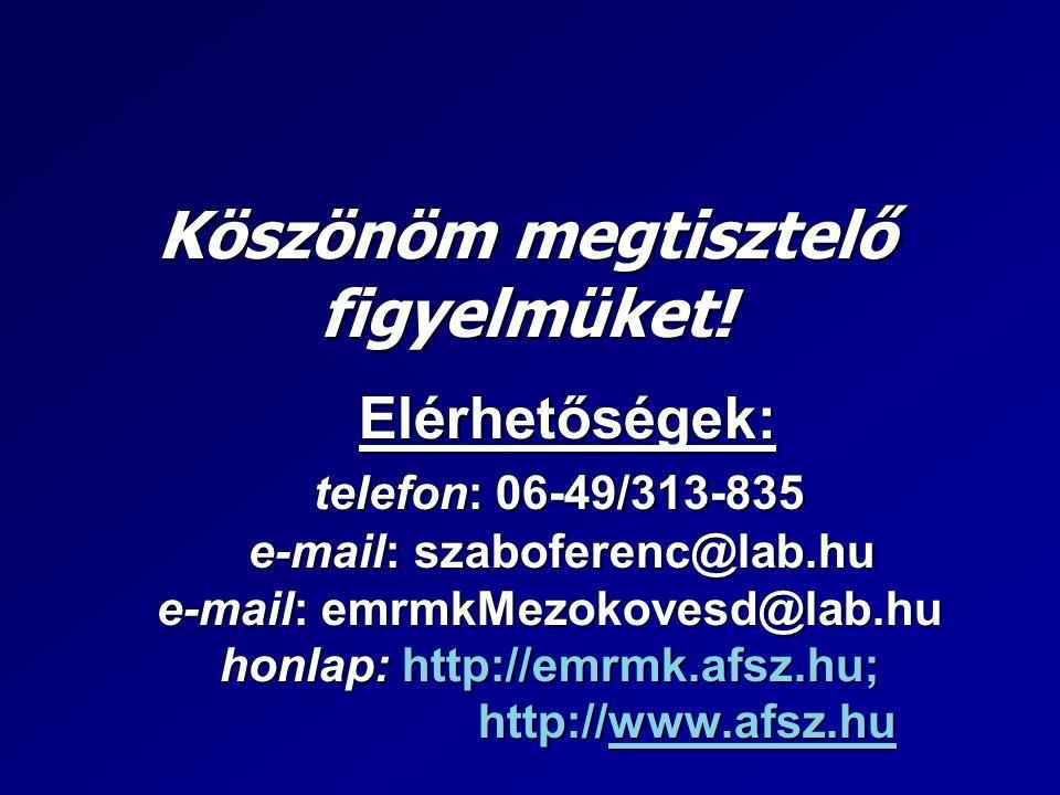 Köszönöm megtisztelő figyelmüket! Elérhetőségek: telefon: 06-49/313-835 e-mail: szaboferenc@lab.hu e-mail: emrmkMezokovesd@lab.hu honlap: http://emrmk