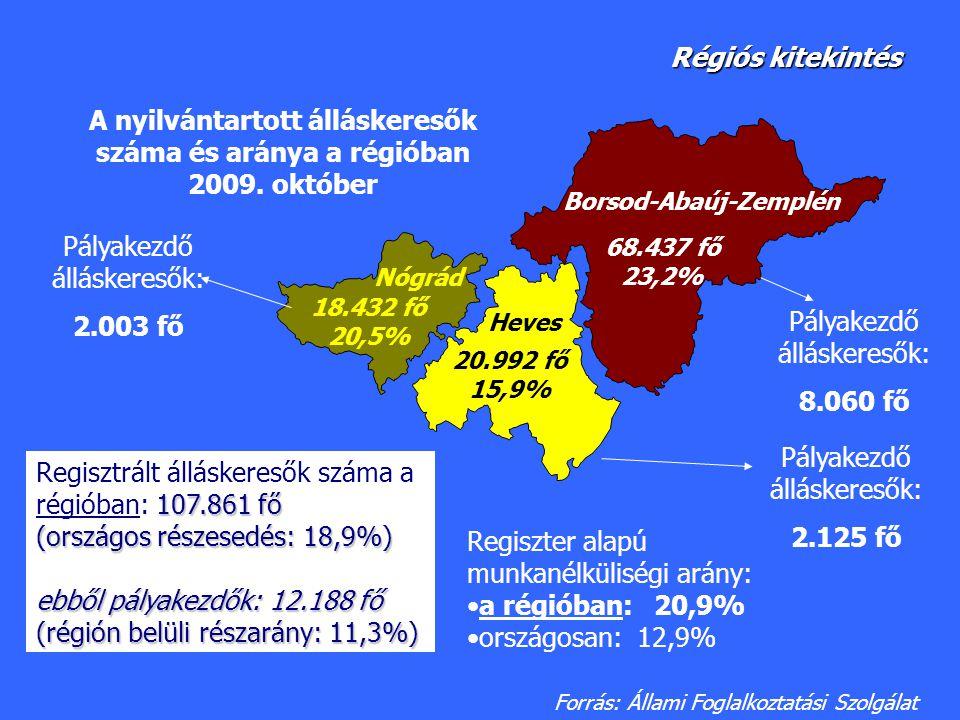 68.437 fő 23,2% 20.992 fő 15,9% 18.432 fő 20,5% A nyilvántartott álláskeresők száma és aránya a régióban 2009. október Heves Borsod-Abaúj-Zemplén Nógr