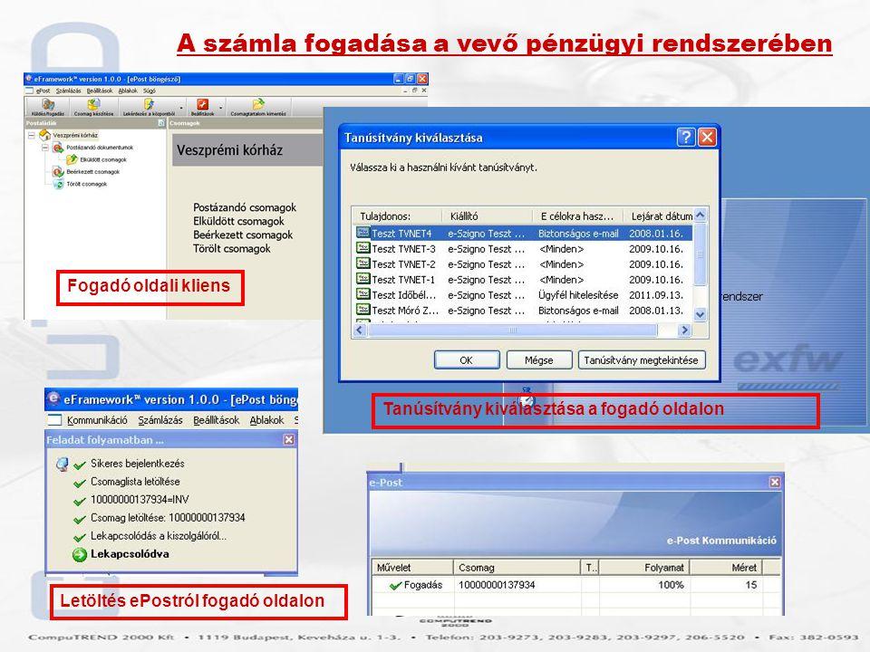 A számla fogadása a vevő pénzügyi rendszerében Fogadó oldali kliens Tanúsítvány kiválasztása a fogadó oldalon Letöltés ePostról fogadó oldalon