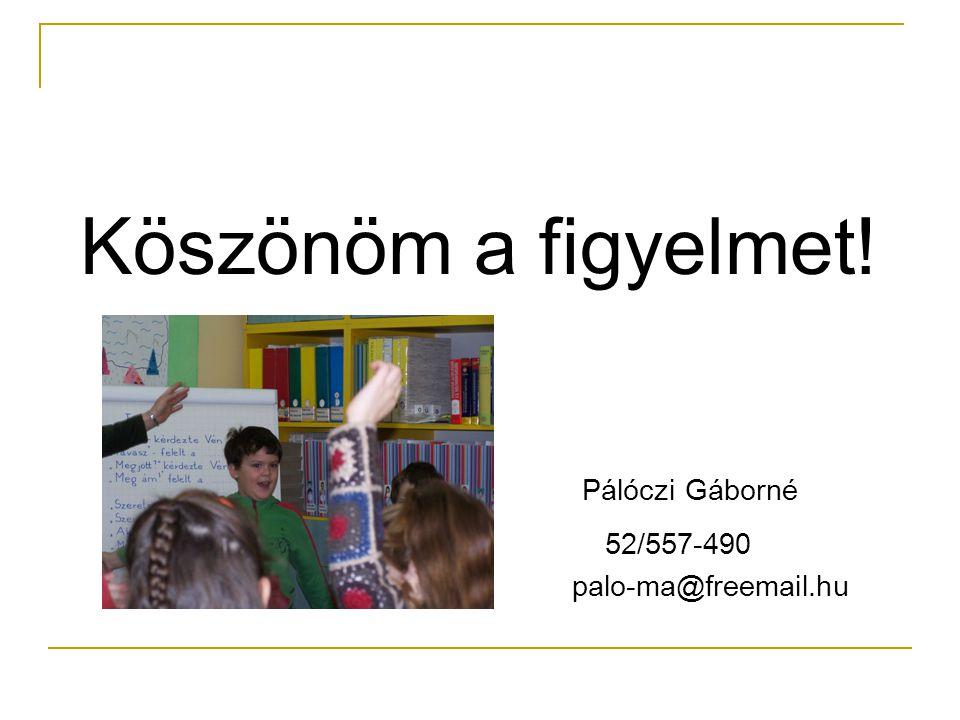 Köszönöm a figyelmet! Pálóczi Gáborné 52/557-490 palo-ma@freemail.hu
