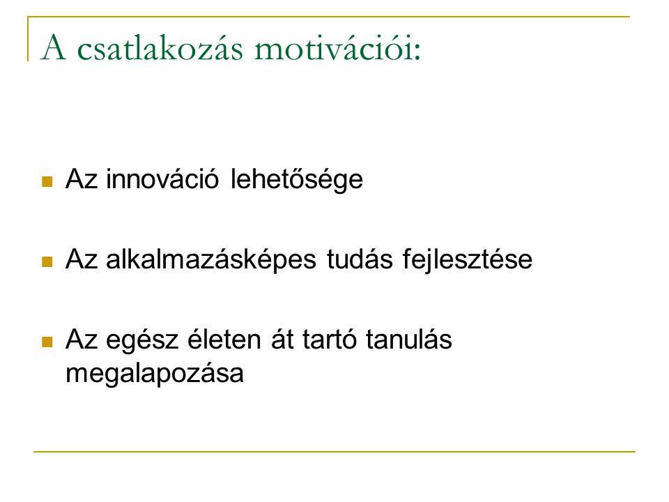 A csatlakozás motivációi: Az innováció lehetősége Az alkalmazásképes tudás fejlesztése Az egész életen át tartó tanulás megalapozása