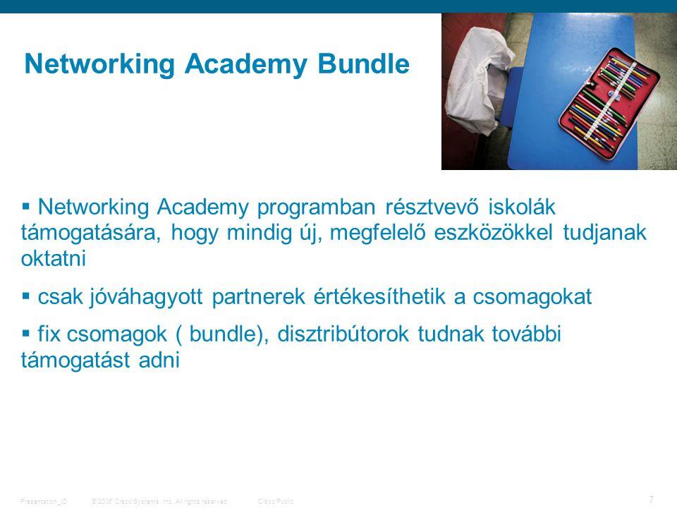© 2006 Cisco Systems, Inc. All rights reserved.Cisco PublicPresentation_ID 7  Networking Academy programban résztvevő iskolák támogatására, hogy mind