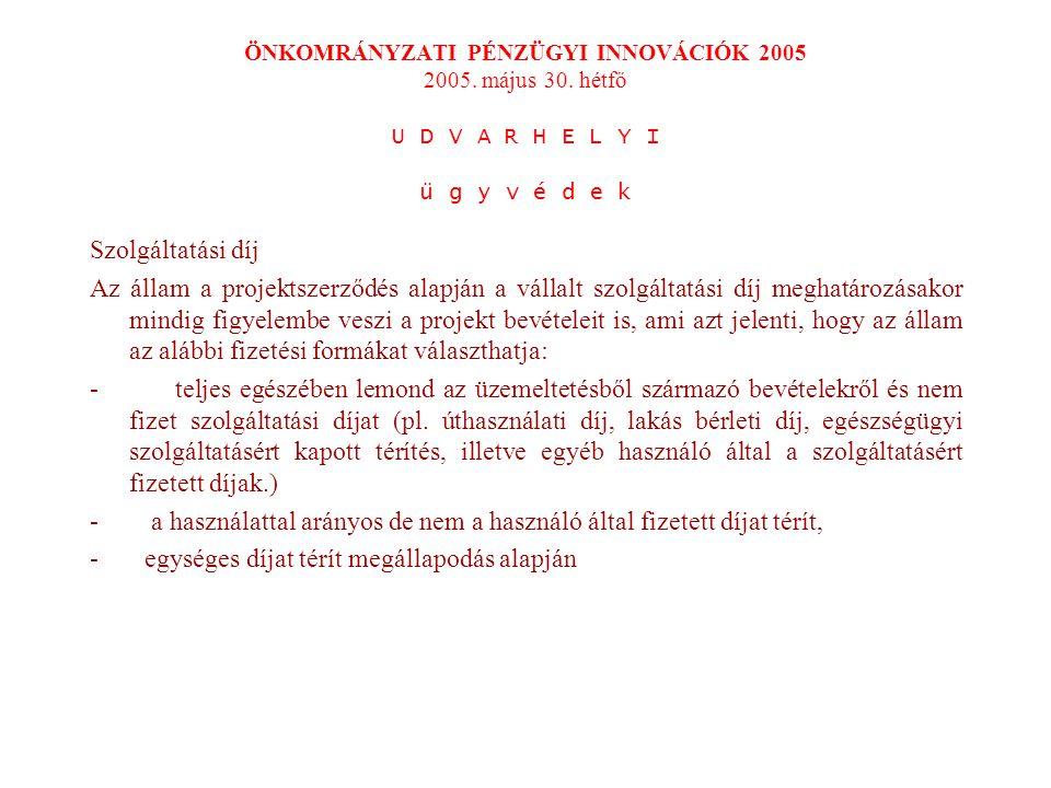 ÖNKOMRÁNYZATI PÉNZÜGYI INNOVÁCIÓK 2005 2005. május 30.