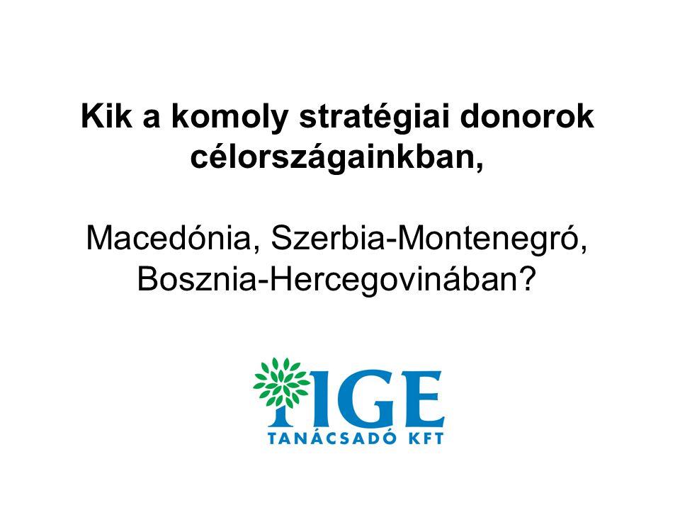 Kik a komoly stratégiai donorok célországainkban, Macedónia, Szerbia-Montenegró, Bosznia-Hercegovinában?