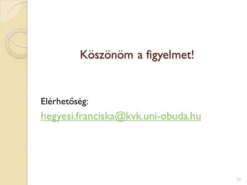 Köszönöm a figyelmet! Elérhetőség: hegyesi.franciska@kvk.uni-obuda.hu 20