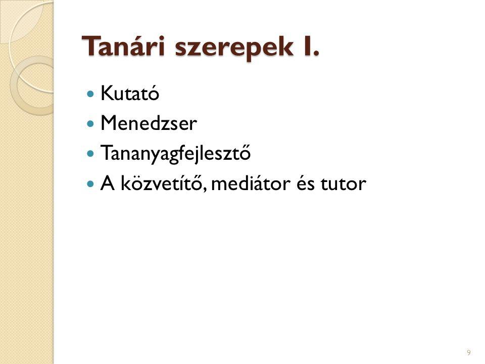 Tanári szerepek II.