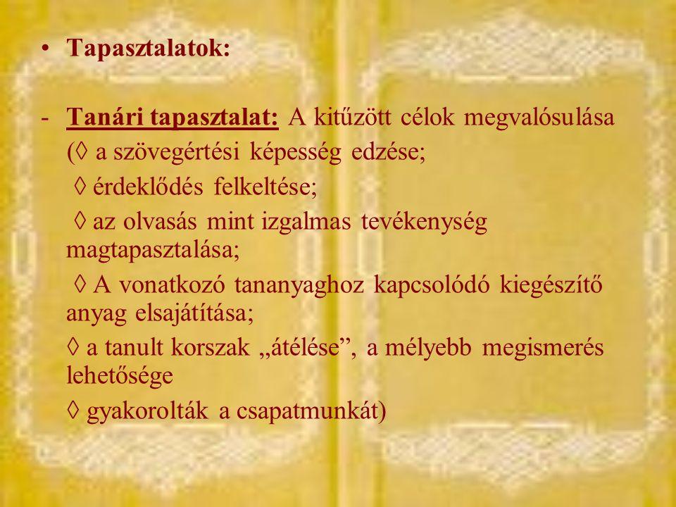 Tapasztalatok: -Tanári tapasztalat: A kitűzött célok megvalósulása (◊ a szövegértési képesség edzése; ◊ érdeklődés felkeltése; ◊ az olvasás mint izgal