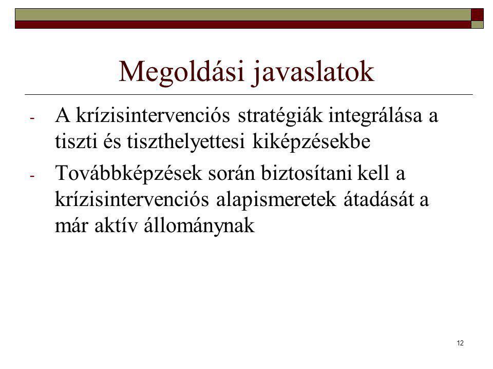 12 Megoldási javaslatok - A krízisintervenciós stratégiák integrálása a tiszti és tiszthelyettesi kiképzésekbe - Továbbképzések során biztosítani kell a krízisintervenciós alapismeretek átadását a már aktív állománynak