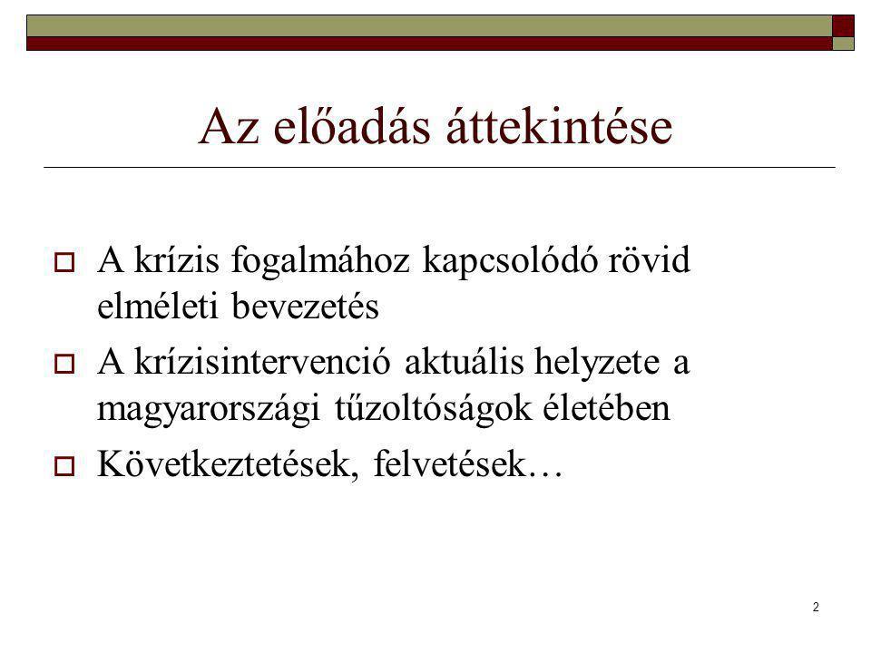 2 Az előadás áttekintése  A krízis fogalmához kapcsolódó rövid elméleti bevezetés  A krízisintervenció aktuális helyzete a magyarországi tűzoltóságok életében  Következtetések, felvetések…